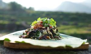 Green papaya salad and smoked buffalo meat by Luke Nguyen