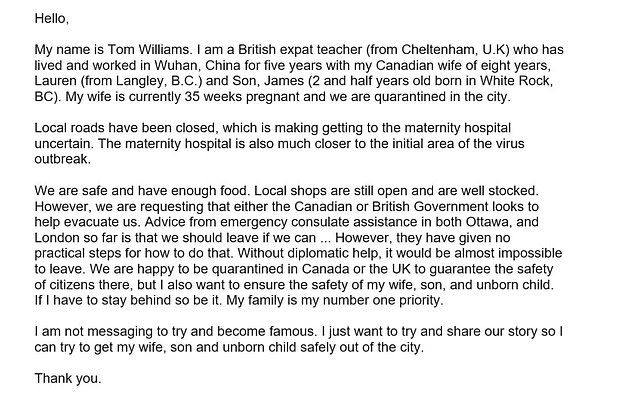Mr Williams's open letter – in which he explicitly states he is not telling his story to become famous – has attracted hundreds of likes and retweets since it was posted on Twitter last night. His wife and son are both Canadian citizens