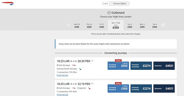 The BA website shows there are no direct flights to China from the UK for the next month - instead they suggest flying to Hong Kong with BA and then connecting with a partner airline such as Cathay Pacific or Dragonair to head to the mainland