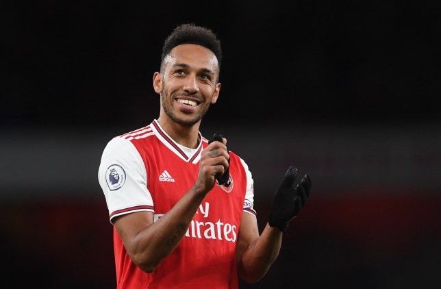 epa08242020 Arsenal's Pierre-Emerick Aubameyang reacts after the English Premier League soccer match between Arsenal FC and Everton FC at the Emirates Stadium in London, Britain, 23 February 2020. EPA/NEIL HALL EDITORIAL USE ONLY. No use with unauthorized audio, video, data, fixture lists, club/league logos or 'live' services. Online in-match use limited to 120 images, no video emulation. No use in betting, games or single club/league/player publications