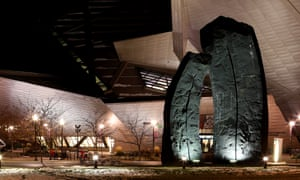 Beverly Pepper's Denver Monoliths in the public plaza outside the Denver Art Museum, Colorado.