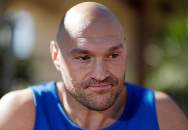 Tyson Fury is pictured during an interview