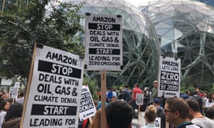 Amazon workers begin to gather in front of 'the spheres', part of the company's HQ, to participate in a climate strike in late 2019