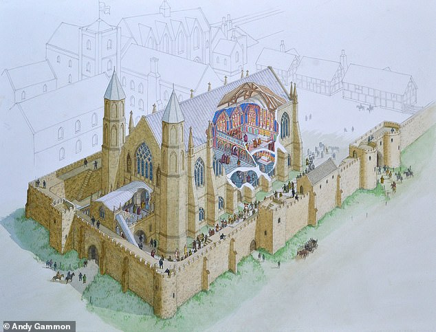 A stunning 14th century medieval chapel gas been uncovered in County Durham, 370 years after it was destroyed in the wake of the First English Civil War. Pictured, an artist's reconstruction of how the chapel may have appeared when it was in use