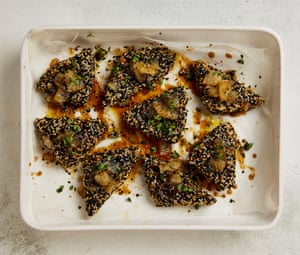Yotam Ottolenghi's sesame crusted feta with burnt honey syrup.