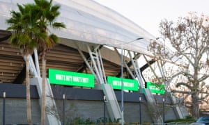 Barbara Kruger installation at Banc of California Stadium