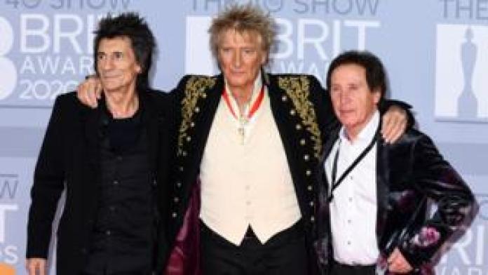 Ronnie Wood, Rod Stewart and Kenney Jones