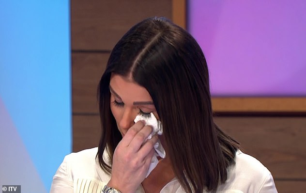 Emotional: The sighting comes after Rebekah Vardy tearfully admitted she was hospitalised three times during the famous WAG war while she was pregnant with her daughter Olivia, one month
