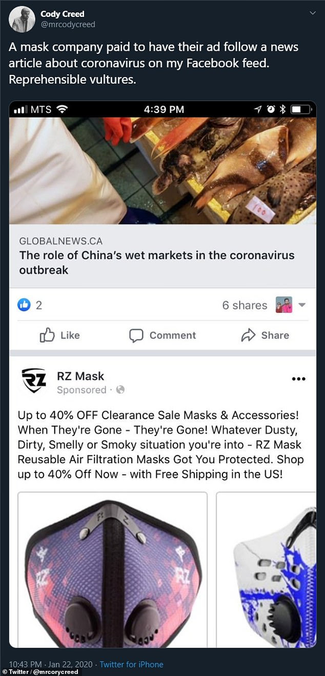 At the same time, Business Insider has reported that Facebook users have been turning to groups on the social network in order to bulk-buy and sell medical face masks — with panic buying fostering a shortage of the items where really needed