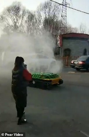 Disinfectant-spray mini-tanks have appeared in various neighbourhoods in Taiyuan, central China's Shanxi Province, since February 4
