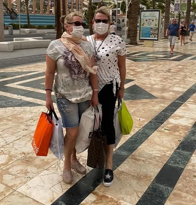 Trapped: Elaine Whitewick and Jayney Brown (pictured together) are among dozens of Britons believed to be in lockdown at the Canary Islands hotel