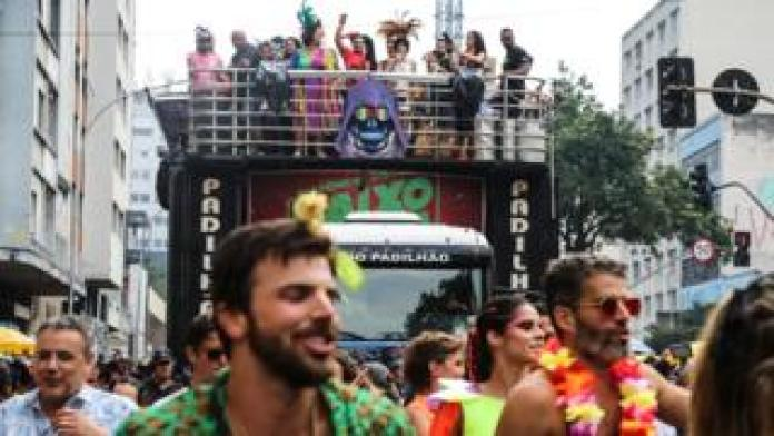 Festival-goers pictured at the Academico bloco