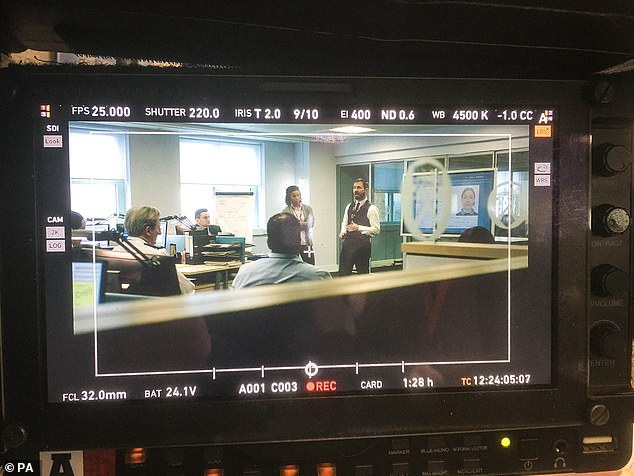 Behind-the-scenes: Snapping some candid photos from the set on the first day of filming, a clapper board is seen in one shot, while the members of AC-12 are congregating in their office in another