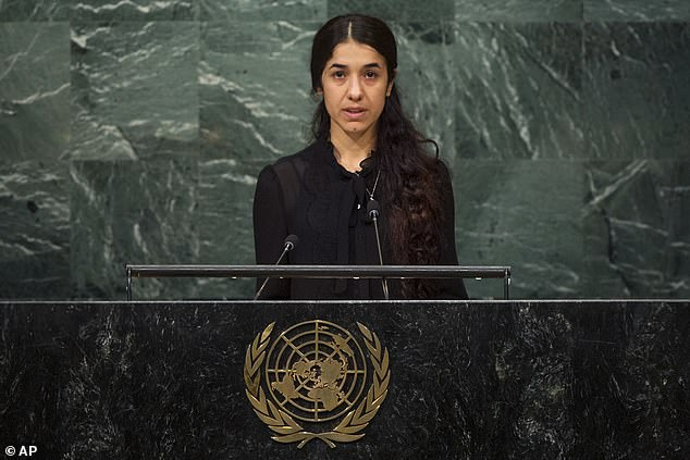 A September 2016 file photo shows Nadia Murad, a former Yazidi captive of ISIS, addressing the UN General Assembly. Murad said the militants 'touched us anywhere they wanted', while bartering for them in slave markets in Iraq