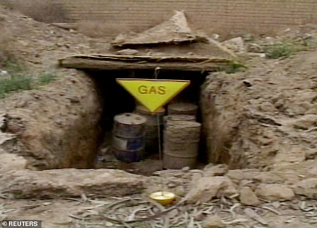 Pictured are barrels found at a military training camp near Karbala in Iraq in April 2003. Tests revealed nerve agents sarin and tabun and the blister agent lewisite, but a general of the 101st US Airborne at the time said they could have had a less sinister purpose