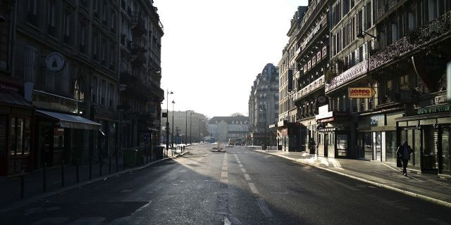 A deserted street near the Gare de l'Est railway station during a nationwide confinement to counter the new coronavirus, in Paris on Tuesday. (AP Photo/Thibault Camus)