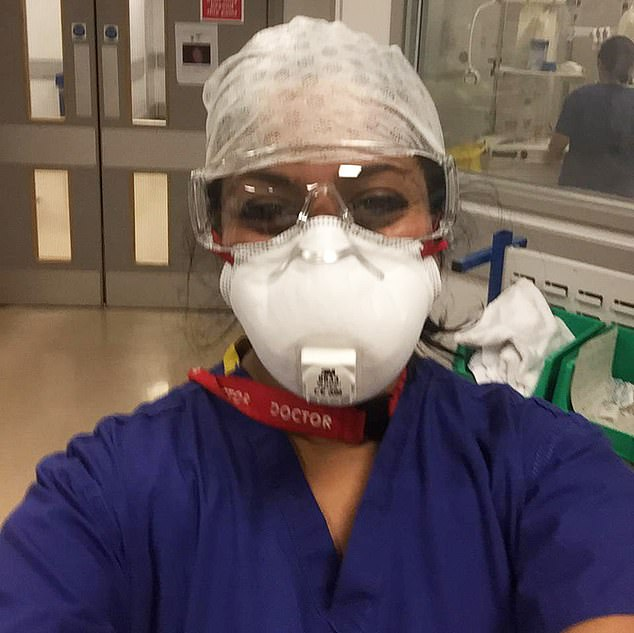 Dr Gowribalan (pictured in hospital) explained how she got the bus in for her night shift at 7.45pm, and helped a man in his 50s with underlying health conditions who was struggling to breathe
