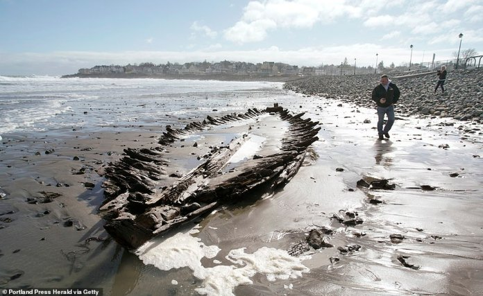Skeletal remains of a shipwreck have appeared on the Maine coastline nearly every 20 years, but have remained a mystery for more than six decades – until now. Researchers have finally identified the wooden wreck as a British cargo ship that dates back before the Revolutionary War – making it older than America itself