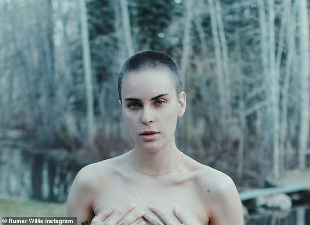 Buzzed beauty:'Shaved this nugget's head today,' captioned sister Rumer, who shared three topless portraits of the 26-year-old rocking her new buzzcut on Instagram Tuesday evening