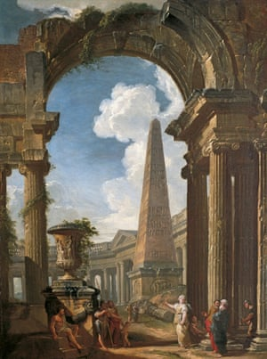 """Ruins of a Temple with a Sibyl, c1719, by Giovanni Paolo Panini"""