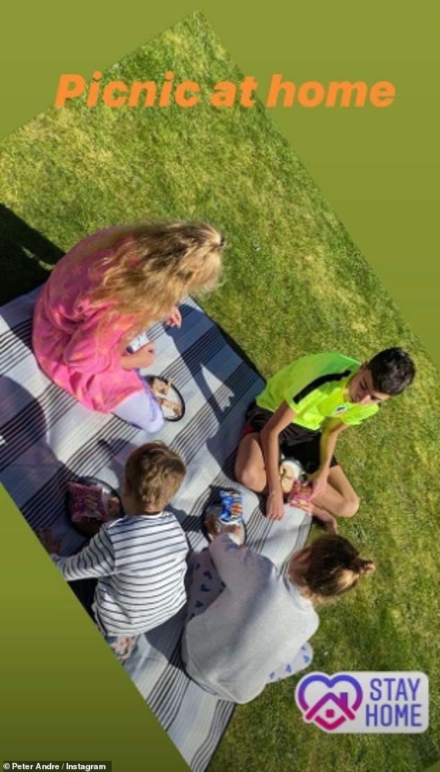 Lovely:Taking to Instagram at the weekend, the singer, 47, shared a sweet picture of his kids Junior, 14, Princess, 12, Amelia, six and Theo, three, enjoying an Al fresco meal in the garden