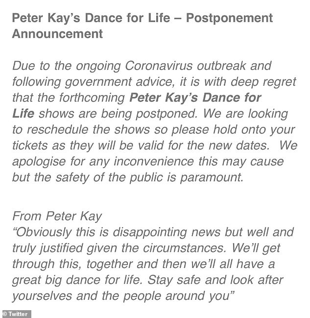 Bad news: Peter announced the news in a statement to fans just weeks after first revealing his comeback tour