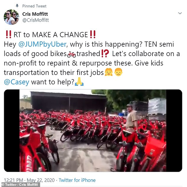 An Uber spokesperson said they had originally investigated donating the bikes but decided to recycle them after liability and safety concerns were raised