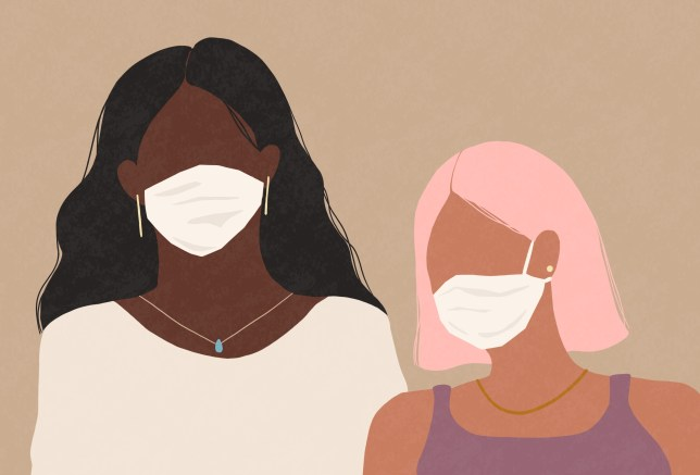 Two women wearing a medical face masks
