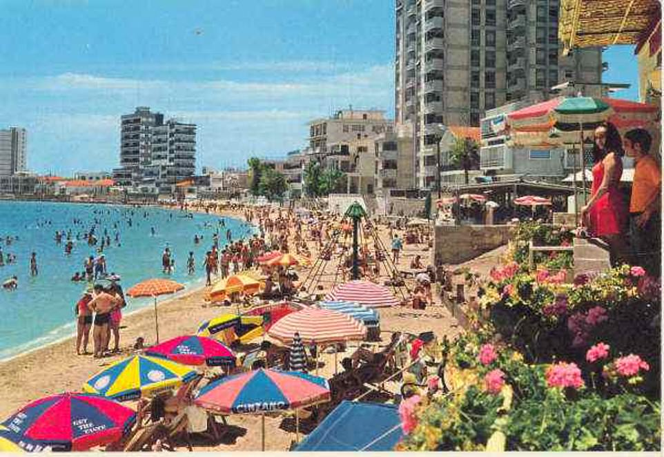 Tourists pile on to a beach at the tourist destination in its heyday. A UN general tried to allow the city's original inhabitants to return to the city but this was rejected by Greek Cypriots in a referendum in 2004