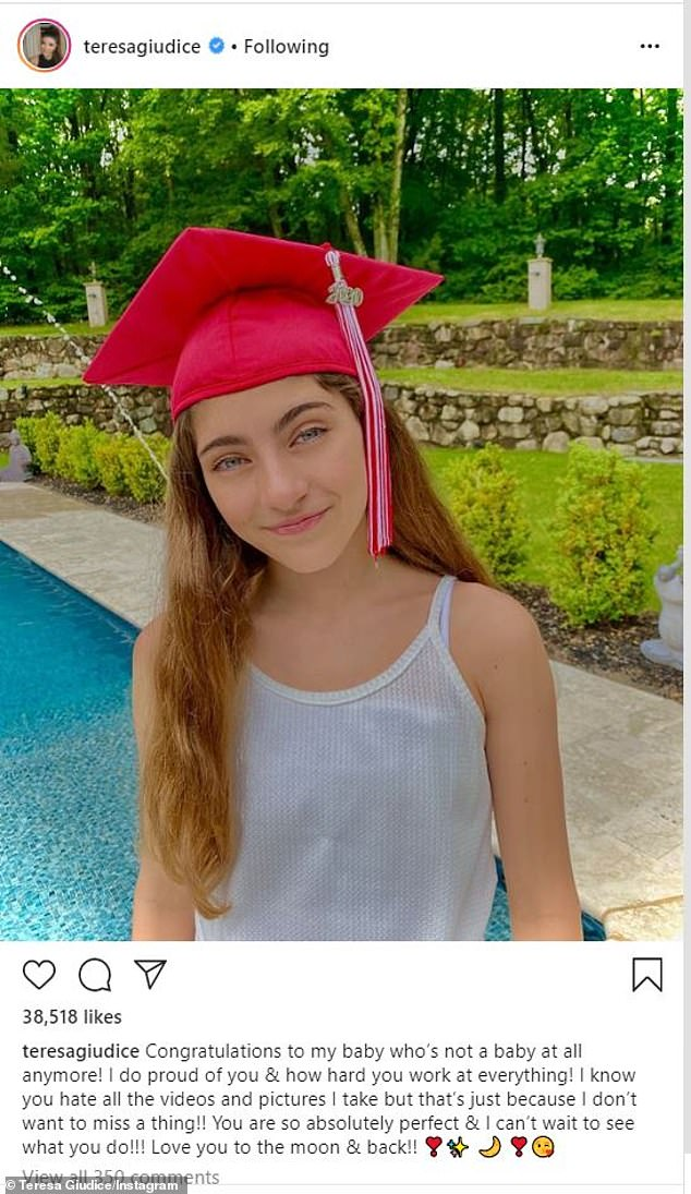 Scholarly:That same day, Teresa uploaded a sweet snapshot of Audriana donning a bright red graduation cap