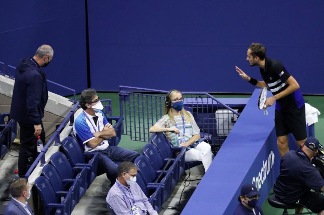 Daniil Medvedev (R) of Russia argues a call with Wayne McKewen (L) during his Men's Singles semifinal match against Dominic Thiem of Austria on Day Twelve of the 2020 US Open at the USTA Billie Jean King National Tennis Center on September 11, 2020 in the Queens borough of New York City.