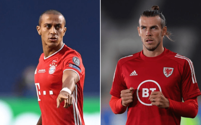 Incoming Liverpool and Tottenham Hotspur signings Thiago Alcantara and Gareth Bale look on