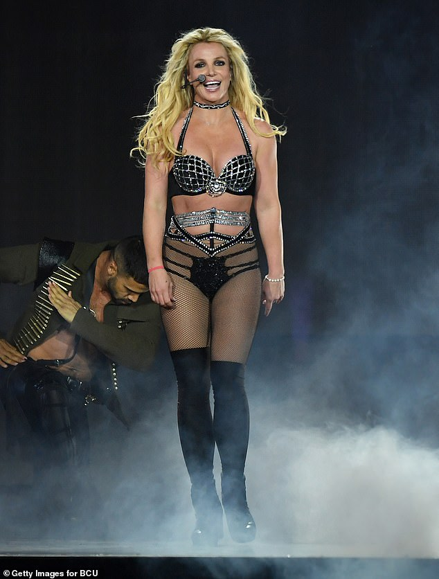 End of the road: Britney Spears, 38, revealed she won't be performing in the near future and objected to her father Jamie Spears' plan to reinstall Andrew Wallet as her co-conservator in court filings obtained by TMZ; shown in 2018