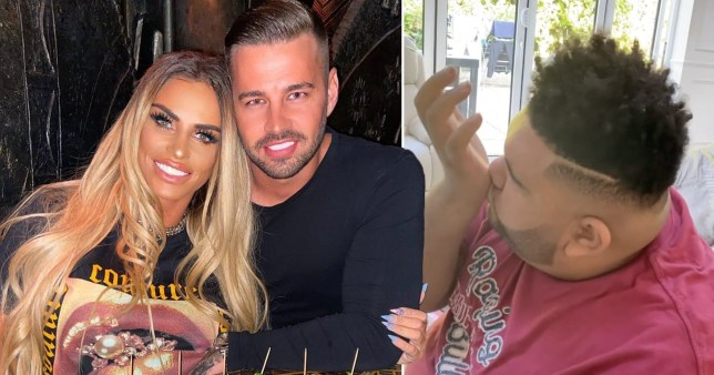 Katie Price's son Harvey mimics her and Carl Woods kissing