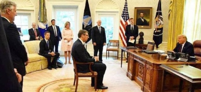 Serbian leader Vucic facing President Trump in White House