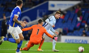 Timo Werner is brought down in the penalty area by Brighton keeper Mat Ryan.