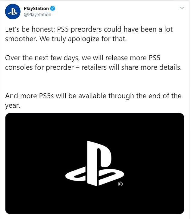 Sony issued an apology on Twitter for PlayStation 5 pre-orders turning into a disaster.Sony shared in the tweet that it is set to release more consoles over the next few days and promises 'more PS5s will be available through the end of the year'