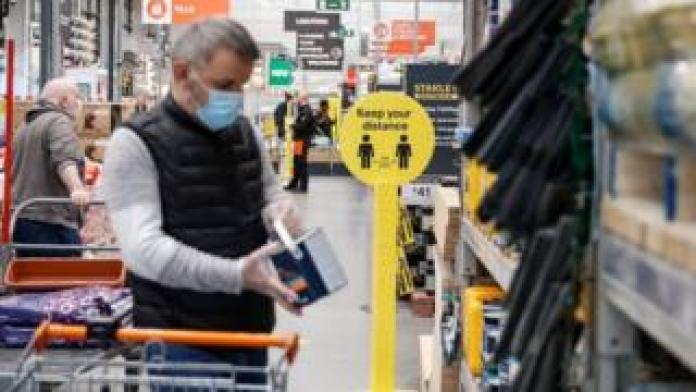 Man shopping in B&Q