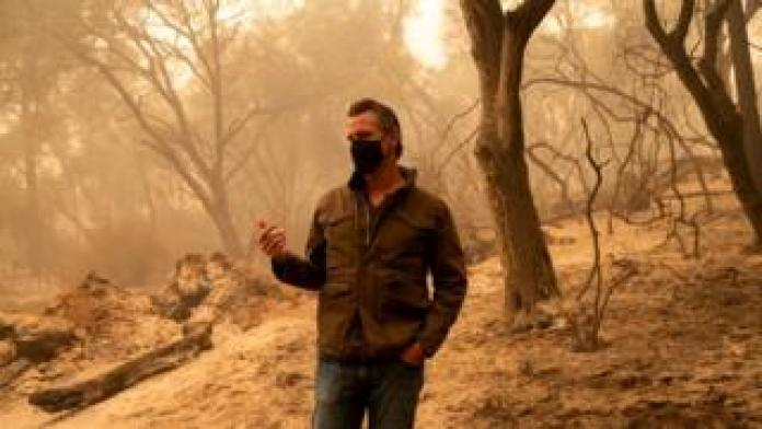 California Governor Gavin Newsom surveys damage caused by the North Complex Fire in Butte County, California, USA, 11 September 2020