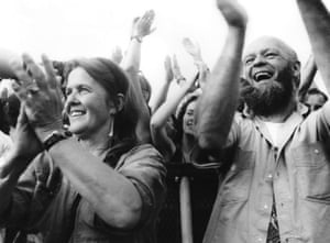 Jean and Michael Eavis cheer from the Pyramid stage, 1992.