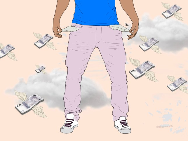 Illustration of a man emptying his empty pockets and money floating around in the background