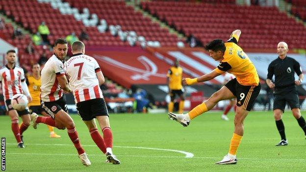 Raul Jimenez scores Wolves' opener at Sheffield United