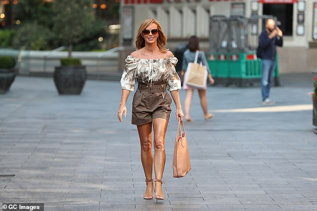 Strutting her stuff: The BGT judge put on a very confident display as she left the studios in central London