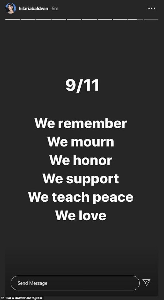 Her thoughts on the anniversary: Friday is the 19 year anniversary of the 911 tragedy
