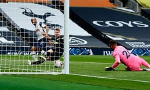 Lucas Moura of Tottenham Hotspur scores his side's first goal.