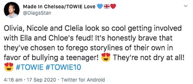 Bullying? One fan replied: 'Really mature tweet there. The girls have clearly had it in for you for a while now and they are just showing their true colours'