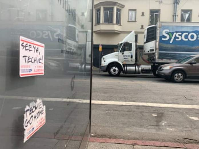 Stickers reject tech workers in San Francisco.