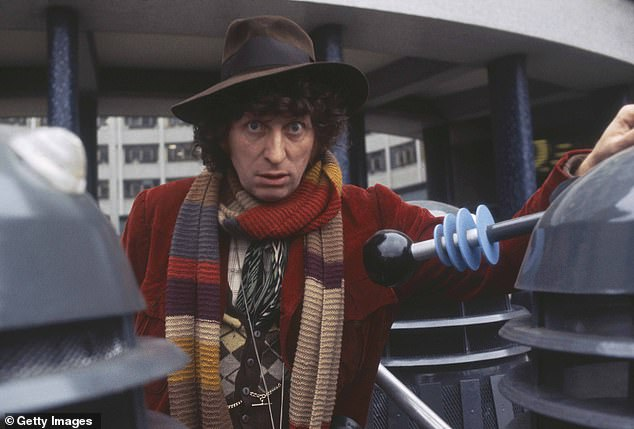 The researchers — Patrick Smith of the Australian Museum and Malte Ebach of the University of New South Wales — said 'Doctor Who' inspired their scientific careers. Pictured, Tom Baker, dressed as the Doctor, poses for publicity photos in 1975 with a squad of Daleks
