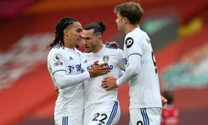 Leeds United's Jack Harrison (centre) is congratulated by Helder Costa (left) and Patrick Bamford after scoring their equaliser.