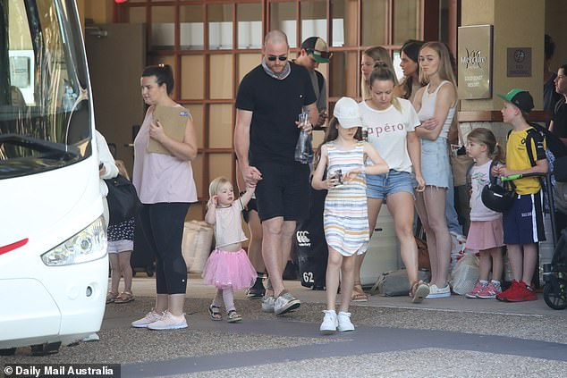 Over:The AFL hub at the Mercure was dismantled on Tuesday as players and their families were seen exiting the hotel